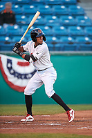 Visalia Rawhide designated hitter Yan Sanchez (2) during a California League game against the San Jose Giants on April 12, 2019 at San Jose Municipal Stadium in San Jose, California. Visalia defeated San Jose 6-2. (Zachary Lucy/Four Seam Images)