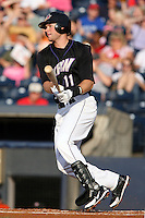 July 10th 2008:  Third baseman Wes Hodges of the Akron Aeros, Class-AA affiliate of the Cleveland Indians, during a game at Canal Park in Akron, OH.  Photo by:  Mike Janes/Four Seam Images