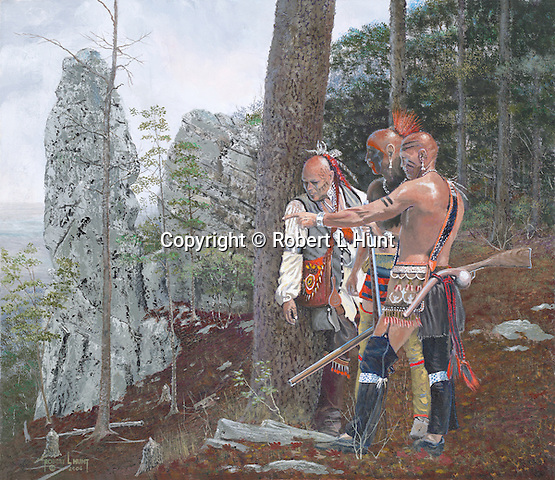 """Native American Shawnee warriors in scouting party on Chimney Rocks observing local farmer Adam Holliday and his young children working in their fields prior to raiding them at present day Hollidaysburg, PA. Oil on canvas, 19"""" x 22""""."""