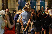 Pictured: Revellers in Swansea. Tuesday 31 December 2019 to Wednesday 01 January 2020<br /> Re: Revellers on a night out for New Year's Eve in Wind Street, Swansea, Wales, UK.