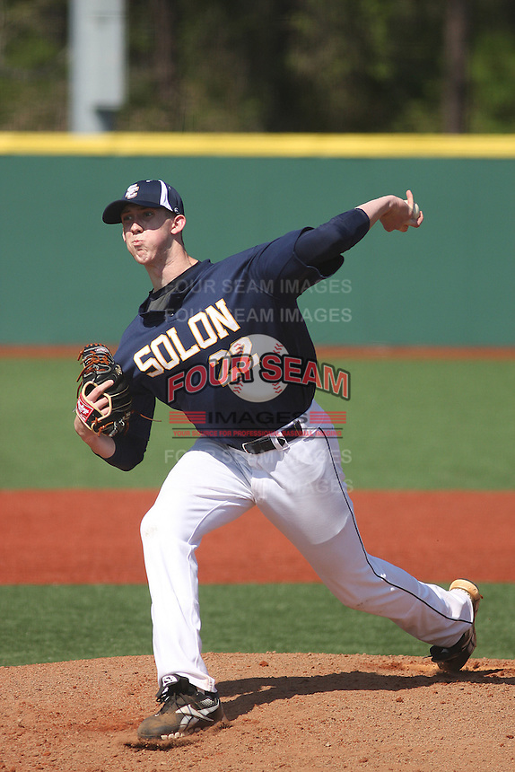 Solon (Ohio) High School Comets pitcher Matt Smoral #22 on the mound during a game against the Westerville (Ohio) Central High School Warhawks at the Ripken Experience Complex on March 26, 2012 in Myrtle Beach, SC. Westerville defeated Solon 8-2. (Robert Gurganus/Four Seam Images)