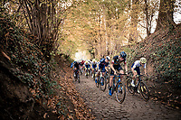 Race start up the infamous Koppenberg with Toon Aerts (BEL/Telenet-Baloise Lions) & Quinten Hermans (BEL/Tormans) leading the way.<br /> <br /> Koppenbergcross 2020 (BEL)<br /> men's race<br /> <br /> ©kramon