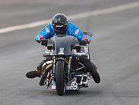 Feb 11, 2017; Pomona, CA, USA; NHRA top fuel nitro Harley rider Jay Turner during qualifying for the Winternationals at Auto Club Raceway at Pomona. Mandatory Credit: Mark J. Rebilas-USA TODAY Sports