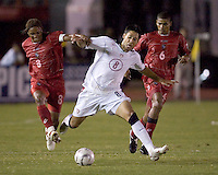 Clint Dempsey battles for the ball as the USA defeated Panama 3-0 in final round World Cup qualifying at Estadio Rommel Fernandez, Panama City, Panama, on June 8, 2005.