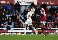 Sunday 07 December 2014<br /> Pictured: Kyle Bartley of Swansea (L)<br /> Re: Premier League West Ham United v Swansea City FC at Boleyn Ground, London, UK.