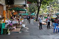 Bangkok, Thailand.  Street Scene, Fruit Stand on Maha Rat Road.