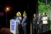 Paris, December 2015. United Nations Climate Change Conference - COP 21. United Nations Development Programme (UNDP) Equator Prize ceremony at the Theatre Mogador. Chief Raoni Metuktire speaks, Patxon Metuktire translates for Instituto Raoni with Alec Baldwin, Magdy Martinez-Soliman and Helen Clark.