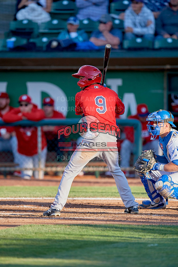 Brandon White (9) of the Orem Owlz bats against the Ogden Raptors at Lindquist Field on June 22, 2019 in Ogden, Utah. The Owlz defeated the Raptors 7-4. (Stephen Smith/Four Seam Images)