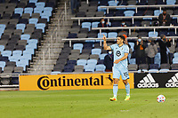 SAINT PAUL, MN - APRIL 24: Michael Boxall #15 of Minnesota United FC thanks the fans during a game between Real Salt Lake and Minnesota United FC at Allianz Field on April 24, 2021 in Saint Paul, Minnesota.