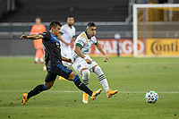 SAN JOSE, CA - SEPTEMBER 19: Marvin Loria #44 of the Portland Timbers and  Nick Lima #24 of the San Jose Earthquakes battle for the ball during a game between Portland Timbers and San Jose Earthquakes at Earthquakes Stadium on September 19, 2020 in San Jose, California.