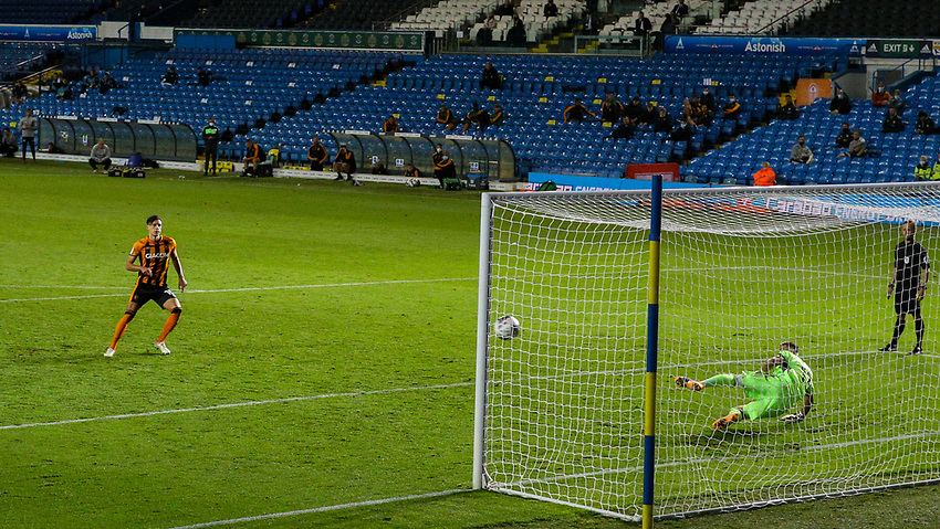 Hull City's Alfie Jones scores the winning penalty<br /> <br /> Photographer Alex Dodd/CameraSport<br /> <br /> Carabao Cup Second Round Northern Section - Leeds United v Hull City -  Wednesday 16th September 2020 - Elland Road - Leeds<br />  <br /> World Copyright © 2020 CameraSport. All rights reserved. 43 Linden Ave. Countesthorpe. Leicester. England. LE8 5PG - Tel: +44 (0) 116 277 4147 - admin@camerasport.com - www.camerasport.com