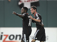 DC United forward Luciano Emilio (11) celebrates with team mate Chris Pontius (13) his score from a penalty kick in the 75th minute of the game.   DC United defeated Real Salt Lake 2-1 to advance to the round of 16 of the  U.S. Open Cup at RFK Stadium, Wednesday  June 2  2010.