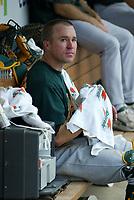 Adam Melhusel of the Oakland Athletics during a 2003 season MLB game at Angel Stadium in Anaheim, California. (Larry Goren/Four Seam Images)
