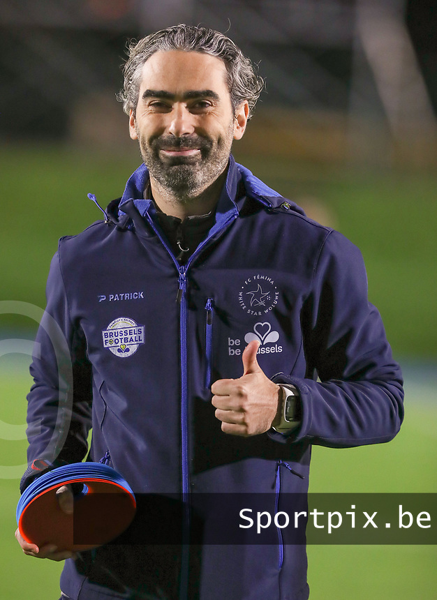 Woluwe's assistant coach Karim Attanjaoui pictured during the warm up before a female soccer game between FC Femina WS Woluwe and Standard Femina de Liege on the fourth match day of the 2020 - 2021 season of Belgian Womens Super League , Friday 8th of October 2020  in Liege , Belgium . PHOTO SPORTPIX.BE | SPP | SEVIL OKTEM