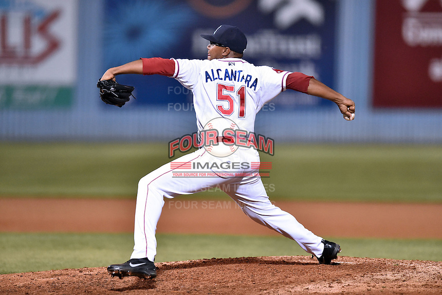 Greenville Drive pitcher Mario Alcantara (51) delivers a pitch during the South Atlantic League All Star Game on June 23, 2015 in Asheville, North Carolina. The North Division defeated the South 7-5(Tony Farlow/Four Seam Images)