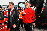 Fleetwood Town's forward Ched Evans (9) arriving for the Sky Bet League 1 match between Doncaster Rovers and Fleetwood Town at the Keepmoat Stadium, Doncaster, England on 6 October 2018. Photo by Stephen Buckley / PRiME Media Images.