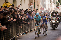 race leaders Jakob FUGLSANG (DEN/Astana) & Julian ALAPHILIPPE (FRA/Deceuninck-Quick Step) attacking on the final infamous city climb in the narrow streets of Siena, just 500m before the finish.<br /> <br /> 13th Strade Bianche 2019 (1.UWT)<br /> One day race from Siena to Siena (184km)<br /> <br /> ©kramon