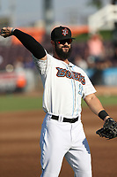 Jordan Serena (10) of the Inland Empire 66ers throws before a game against the Rancho Cucamonga Quakes at San Manuel Stadium on July 29, 2017 in San Bernardino, California. Inland Empire defeated Rancho Cucamonga, 6-4. (Larry Goren/Four Seam Images)