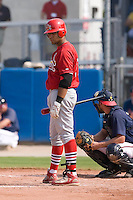Osvaldo Morales (37) of the Johnson City Cardinals looks to his third base coach for the sign at Dan Daniels Park in Danville, VA, Sunday July 27, 2008.