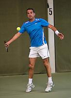 Hilversum, The Netherlands, 05.03.2014. NOVK ,National Indoor Veterans Championships of 2014, Jef Stevens (NED)<br /> Photo:Tennisimages/Henk Koster
