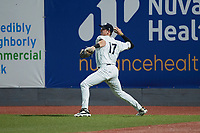 Hudson Valley Renegades right fielder Jake Sanford (17) on defense against the Wilmington Blue Rocks at Dutchess Stadium on July 27, 2021 in Wappingers Falls, New York. (Brian Westerholt/Four Seam Images)