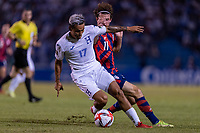 SAN PEDRO SULA, HONDURAS - SEPTEMBER 8: Andy Najar #17 of Honduras is defended by Brenden Aaronson #11 of the United States during a game between Honduras and USMNT at Estadio Olímpico Metropolitano on September 8, 2021 in San Pedro Sula, Honduras.