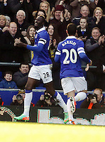 Pictured L-R: Lacina Traore of Everton opening goal with team mate Ross Barkley. Sunday 16 February 2014<br /> Re: FA Cup, Everton v Swansea City FC at Goodison Park, Liverpool, UK.