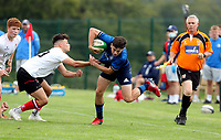 Saturday 4th September 20218 <br /> <br /> Tom Hodgkinson is tackled by James Girvan during U18 Clubs inter-pro between Ulster Rugby and Leinster at Newforge Country Club, Belfast, Northern Ireland. Photo by John Dickson/Dicksondigital