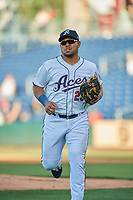 Yasmany Tomas (23) of the Reno Aces on leaves the field against the Nashville Sounds at Greater Nevada Field on June 5, 2019 in Reno, Nevada. The Aces defeated the Sounds 3-2. (Stephen Smith/Four Seam Images)