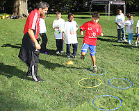 """Jaime Moreno during a  D.C United clinic in support of first lady Michelle Obama's """"Let's Move"""" initiative on the White House lawn, in Washington D.C. on October 7 2010."""