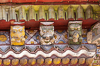 Nepal, Changu Narayan.  Decorative Details in Temple Roof, Hindu Deities and Demons.