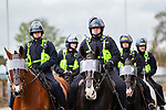 © Joel Goodman - 07973 332324 . 05/05/2012 .  Luton , UK . Mounted police at the demonstration . Approximately 1,500 people take part in an EDL ( English Defence League ) march in Luton , understood to have been policed by over 1,000 officers . Photo credit: Joel Goodman