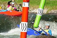 5th September 2021; Parc Olimpic del Segre, La Seu D'Urgell ICF Slalom World Cup, Women's  Extreme Slalom Final;  winner Satkova (CZE) and  Luuka Jones (NZL)