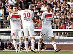Kevin Gameiro of PSG celebrates after scoring the equaliser with Nene and Javier Pastore. Toulouse v Paris Saint Germain (1-3), Ligue 1, Stade Municipal, Toulouse, France, 28th August 2011.