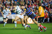 20120803 Copyright onEdition 2012©.Free for editorial use image, please credit: onEdition..Alex Gray of London Irish is tackled by Matt Banahan of Bath Rugby at The Recreation Ground, Bath in the Final round of The J.P. Morgan Asset Management Premiership Rugby 7s Series...The J.P. Morgan Asset Management Premiership Rugby 7s Series kicked off again for the third season on Friday 13th July at The Stoop, Twickenham with Pool B being played at Edgeley Park, Stockport on Friday, 20th July, Pool C at Kingsholm Gloucester on Thursday, 26th July and the Final being played at The Recreation Ground, Bath on Friday 3rd August. The innovative tournament, which involves all 12 Premiership Rugby clubs, offers a fantastic platform for some of the country's finest young athletes to be exposed to the excitement, pressures and skills required to compete at an elite level...The 12 Premiership Rugby clubs are divided into three groups for the tournament, with the winner and runner up of each regional event going through to the Final. There are six games each evening, with each match consisting of two 7 minute halves with a 2 minute break at half time...For additional images please go to: http://www.w-w-i.com/jp_morgan_premiership_sevens/..For press contacts contact: Beth Begg at brandRapport on D: +44 (0)20 7932 5813 M: +44 (0)7900 88231 E: BBegg@brand-rapport.com..If you require a higher resolution image or you have any other onEdition photographic enquiries, please contact onEdition on 0845 900 2 900 or email info@onEdition.com.This image is copyright the onEdition 2012©..This image has been supplied by onEdition and must be credited onEdition. The author is asserting his full Moral rights in relation to the publication of this image. Rights for onward transmission of any image or file is not granted or implied. Changing or deleting Copyright information is illegal as specified in the Copyright, Design and Patents Act 1988. If you are in any way unsure of your right to publish this