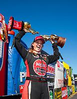 Oct 14, 2019; Concord, NC, USA; NHRA top alcohol dragster driver Megan Meyer celebrates after clinching the 2019 championship after winning the Carolina Nationals at zMax Dragway. Mandatory Credit: Mark J. Rebilas-USA TODAY Sports