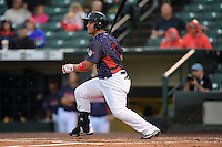 Rochester Red Wings outfielder Oswaldo Arcia (25) at bat during a game against the Norfolk Tides on July 27, 2013 at Frontier Field in Rochester, New York.  Rochester defeated Norfolk 4-2.  (Mike Janes/Four Seam Images)