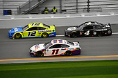#11: Denny Hamlin, Joe Gibbs Racing, Toyota Camry FedEx Express, #12: Ryan Blaney, Team Penske, Ford Mustang Menards/Peak, and #4: Kevin Harvick, Stewart-Haas Racing, Ford Mustang Busch Beer Car2Can