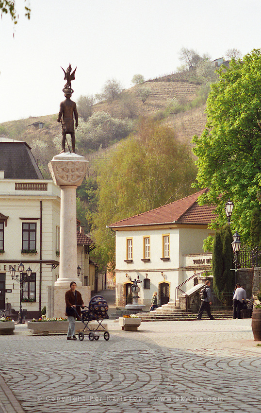 The Tokaj village: The main square with a statue . The small village called Tokaj is where the two rivers Bodrog and Tisza joins. It is much visited by tourists. the centre has been beautifully restored. Credit Per Karlsson BKWine.com