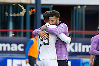 25th September 2021; Kilmac Stadium, Dundee, Scotland: Scottish Premiership football, Dundee versus Rangers; Connor Goldson of Rangers celebrates their win at the end of the match with Rangers goalkeeper Jon McLaughlin