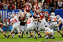 The Arkansas Razorbacks fail to block a field goal by the Ohio State Buckeyes during the Allstate Sugar Bowl in New Orleans, Louisiana January, 4, 201. The Ohio State Buckeyes defeated the Arkansas Razorbacks, 31- 26.<br /> <br /> <br /> <br /> (Cheryl Gerber/AP Images for Allstate)