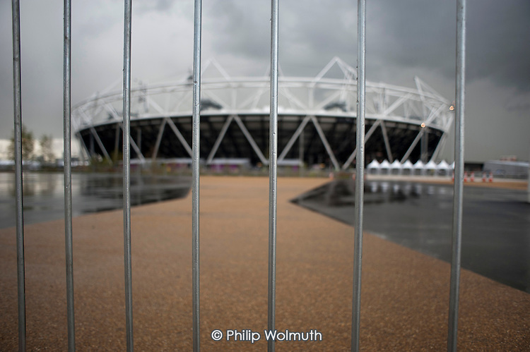 Security barrier on the approach to the Olympic Stadium, London.