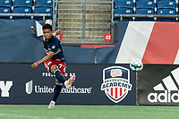 FOXBOROUGH, MA - AUGUST 7: Damian Rivera #72 of New England Revolution II passes the ball during a game between Orlando City B and New England Revolution II at Gillette Stadium on August 7, 2020 in Foxborough, Massachusetts.