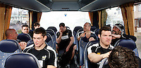 Photo: Richard Lane/Richard Lane Photography. London Wasps depart for Abu Dhabi for their LV= Cup game against Harlequins on 30st January 2011. 25/01/2011. London Wasps depart for Abu Dhabi at Heathrow aiport on the team coach.