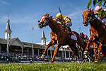 May 03, 2014: Wise Dan with John Valazquez aboard defeats Seek Again with Joel Rosario to win the Woodford Reserve Stakes at Churchill Downs Louisville Ky. Alex Evers/ESW/CSM