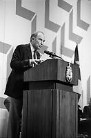 Pierre Trudeau et marc Lalonde lors du<br /> Liberal Outlook Convention 1981, 14 novembre 1981<br /> <br /> PHOTO : Agence Quebec Presse