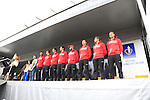 Team Katusha at the Team Presentations in Compiegne before the 2015 Paris-Roubaix cycle race held over the cobbled roads of Northern France. 11th April 2015.<br /> Photo: Eoin Clarke www.newsfile.ie