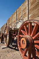 """Original """"twenty-mule team"""" borax wagon at Harmony Borax Works, Death Valley National Park, California. Borax was refined here between 1883 and 1888, employing 40 men, mostly Chinese immigrants, to produce up to three tons of borax per day."""