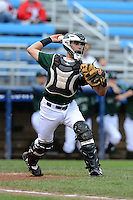 Jamestown Jammers catcher Reese McGuire (7) throws to first during a game against the State College Spikes on September 3, 2013 at Russell Diethrick Park in Jamestown, New York.  State College defeated Jamestown 3-1.  (Mike Janes/Four Seam Images)
