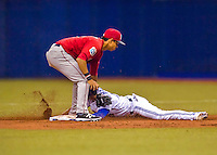 2 April 2016: The Toronto Blue Jays infielder Darwin Barney steals second base in the 3rd inning of a pre-season exhibition game against the Boston Red Sox at Olympic Stadium in Montreal, Quebec, Canada. The Red Sox defeated the Blue Jays 7-4 in the second of two MLB weekend games, which saw a two-game series attendance of 106,102 at the former home on the Montreal Expos. Mandatory Credit: Ed Wolfstein Photo *** RAW (NEF) Image File Available ***